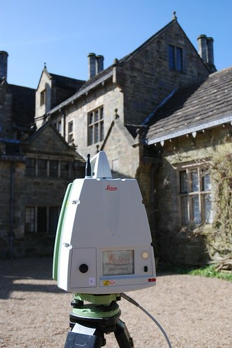 Leica C10 Terrestrial Laser Scanner being used to survey a historic building