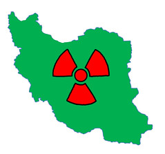 Iran with nuclear symbol by futureatlas.com