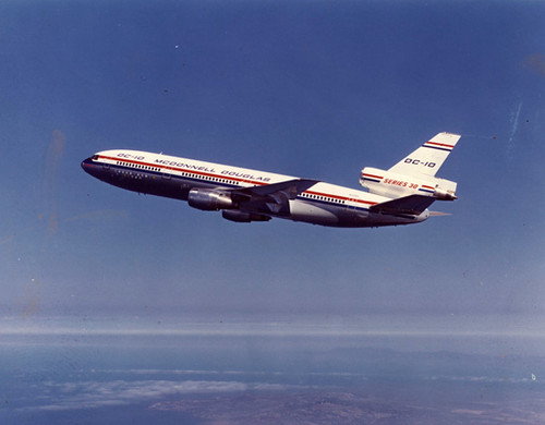 Early DC-10 flight. Photo from the San Diego Air and Space Museum Archive via Flickr.