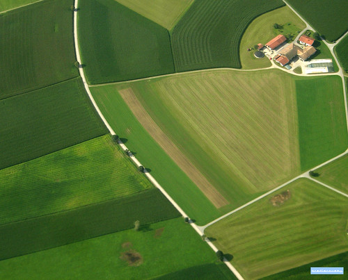 Farmhouse in Germany, aerial photograph