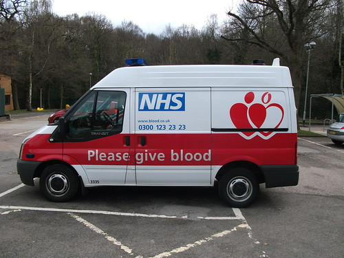 MJ08ZTE National Blood Service Ford Transit 110 T260s parked up at Brentwood Blood Center