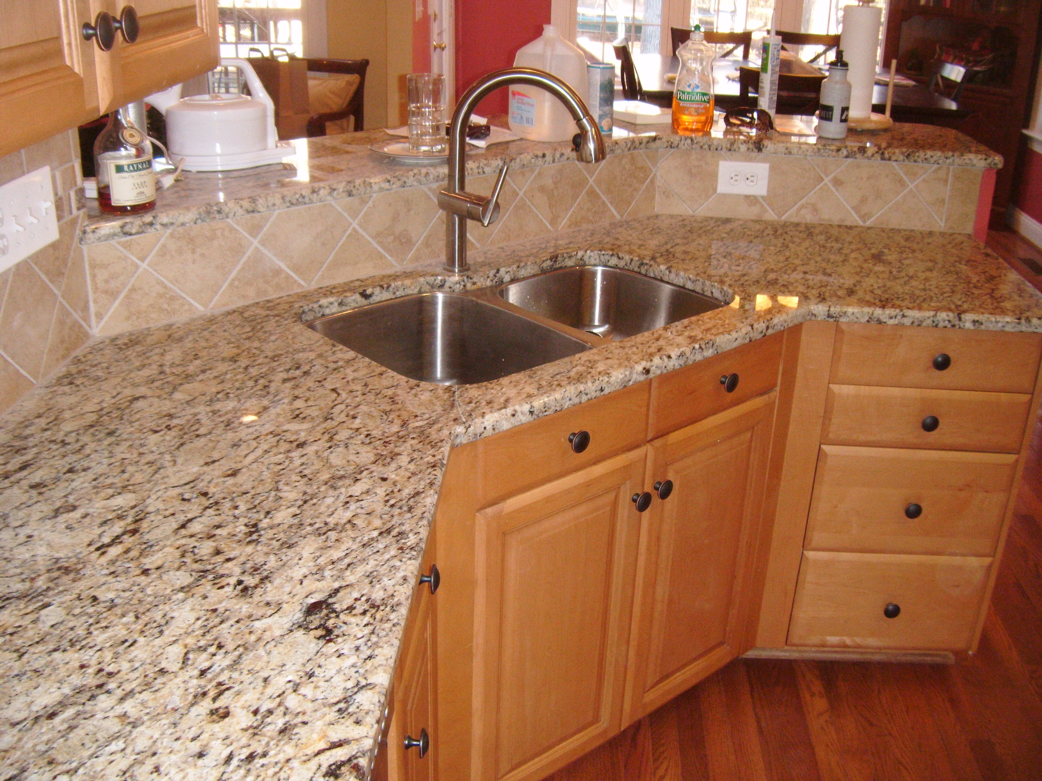 Countertop Options And Prices Santa Cecilia Granite With Tile Backsplash - Charlotte, Nc