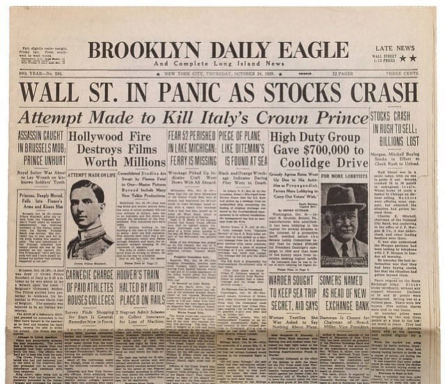 1929 Crash Headline