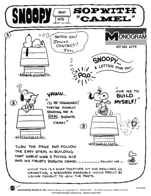 monogram snap-tite model kit: snoopy and his sopwith camel