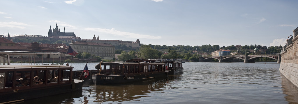 Panorama of Vltava River and Mánesův most