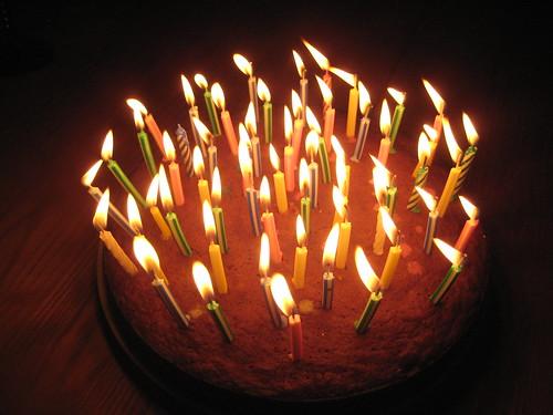 Candled cake