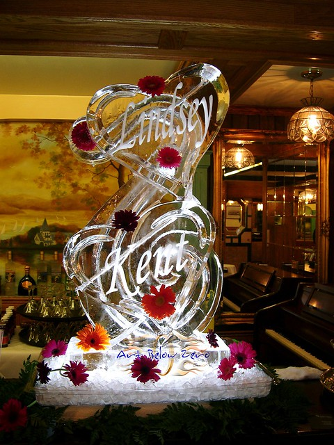 Ice Sculpture Double Hearts Luge with Names  Flowers