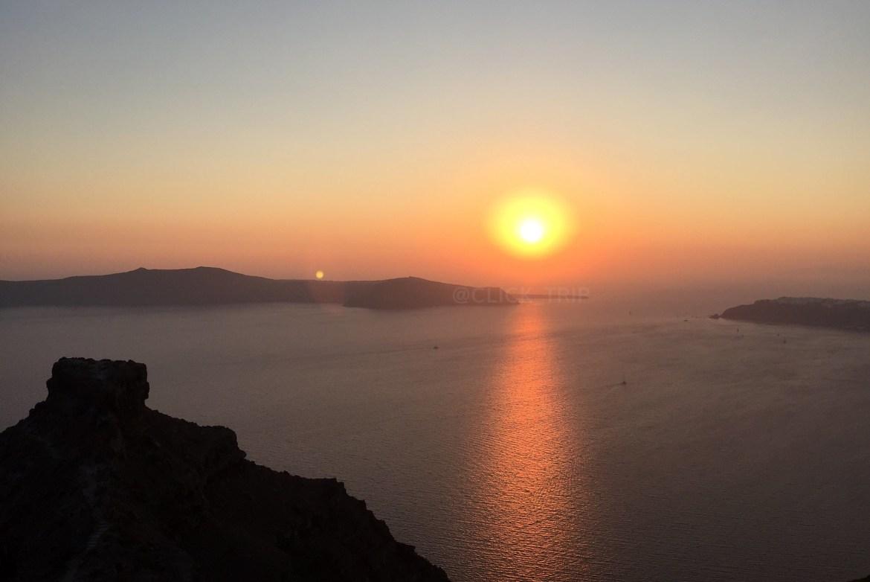 Atardecer en Imerovigli con la roca Skaros | Santorini | ClickTrip.ES