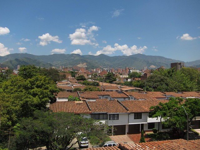 The rooftop features beautiful 360-degree views of Medellin and the mountains.