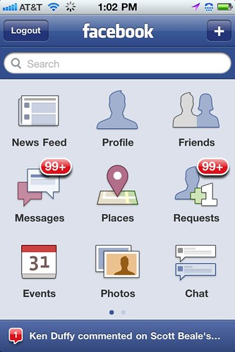 Facebook phone UI