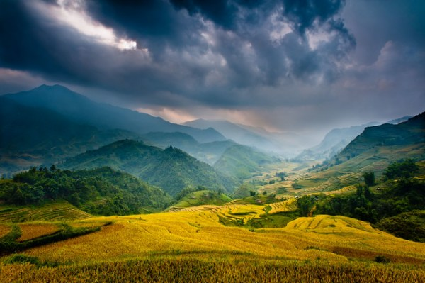 """mountain storm"" vietnam asia sapa landscape travel"