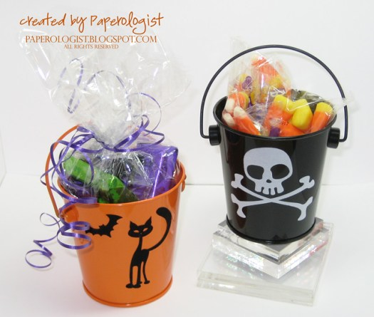 Silhouette Die Cutter - Mini Pails embellished with fuzzy vinyl