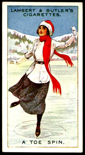 Cigarette Card - Ice Skating, A Toe Spin