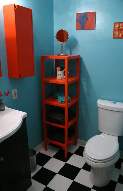 After: Bathroom Shelves & Toilet