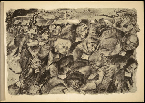 Lithograph by Leo Haas (1901-1983), Holocaust artist,  who survived Theresienstadt and Auschwitz