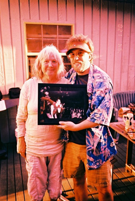 bev. presents dave with photo of me at 13 years old seeing Spores (opening for DOA) at Bumpers, Surrey, 1983