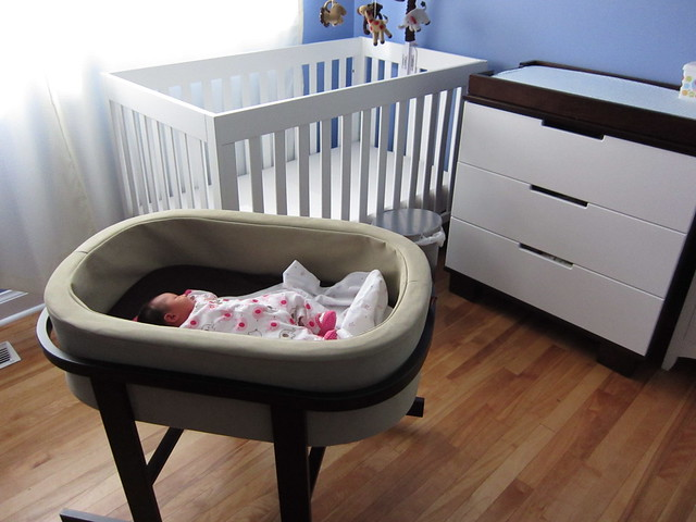 bassinet in it's temporary home before moving to the master bedroom