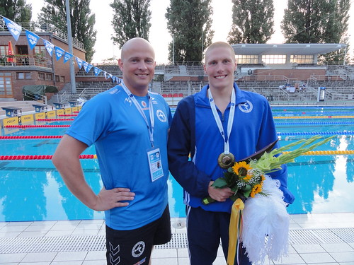 Pál and Jón after the 2010 Europeans 1500 freestyle