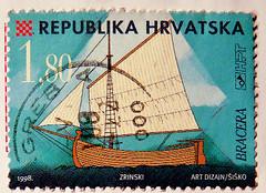 stamp Hrvatska Kroatien 1.80 k Croatia Croatie Chorwacja stamp Briefmarke timbre marka selo francobollo ship Schiff Segelschiff Bracera