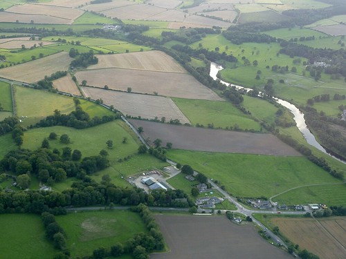 The sites of Brunton Turret, Milecastle 27, and Chesters from the air