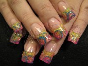 rockstar nails in pink and yellow