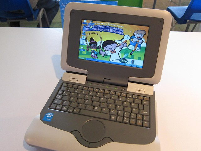 Mini-laptops are available for the children to use in the library.