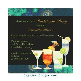 Colorful Cocktails:Custom Bachelorette Party Invites
