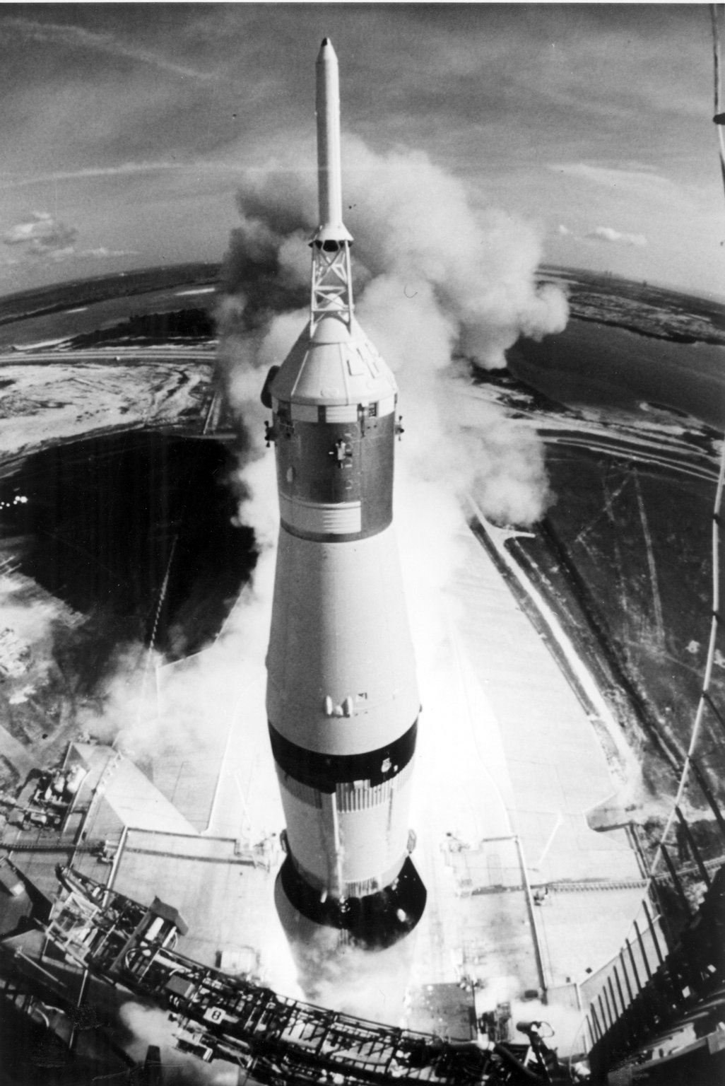Apollo 11 Launched Via the Saturn V Rocket-High Angle View