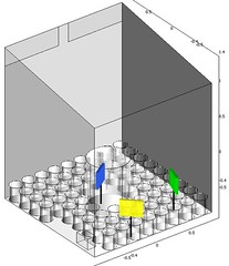 Model of CFD simulation to design a plant-growth chamber (64 pots)