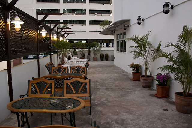 hostel's patio