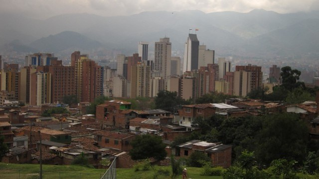 The view of downtown (centro) Medellin
