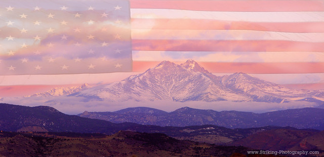 Twin Peaks Longs Peak And Mt Meeker Panorama Usa Flag