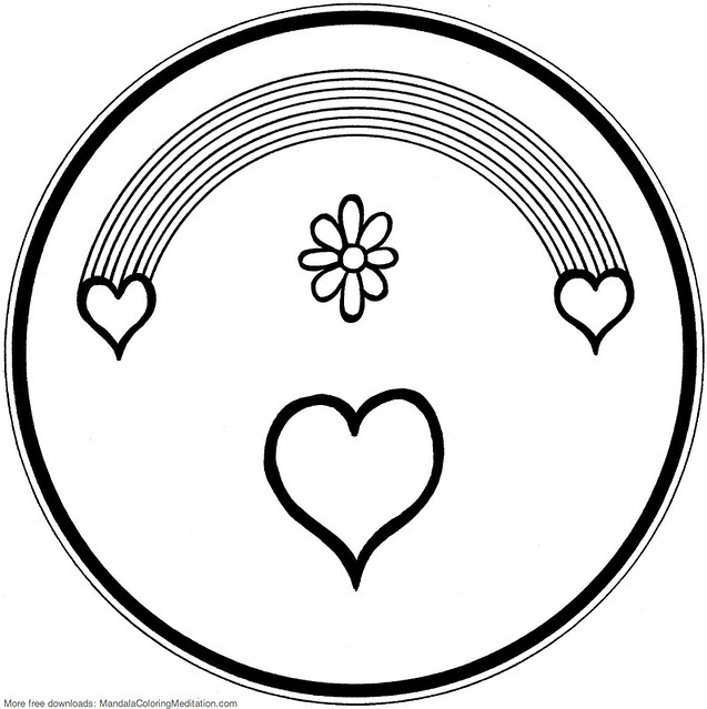 Printable children coloring page: rainbow heart mandala