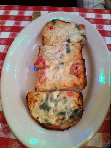 Cheesy bread Florentine is served @bucadibeppo. Dip it in some marinara sauce for that extra #nom kick.