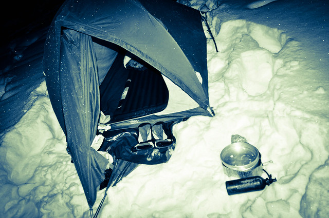 Camping in the snow