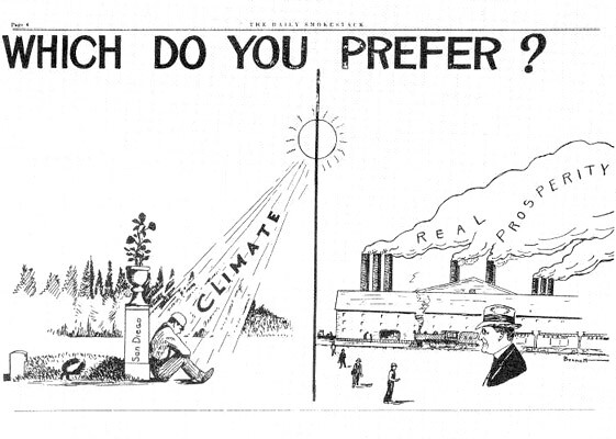 Geraniums Versus Smokestacks? Editorial Cartoon From San