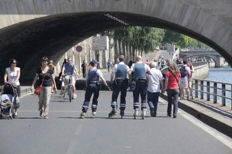 Policemen rollerblading