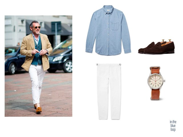 Look masculino smart-casual con pantalón de vestir blanco, camisa vaquera para hombre y zapatos loafer