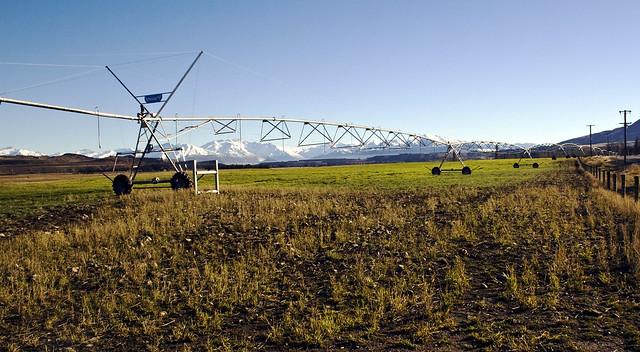 Giant Rotary Irrigation Scheme near Twizel, Mackenzie Country, South Island, New Zealand