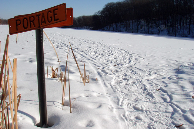 Winter portage sign on Jensen Lake