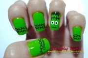 nail art halloween frankenstein