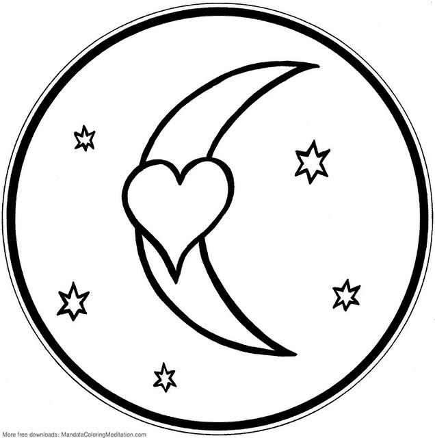 Printable children coloring page: heart & moon mandala