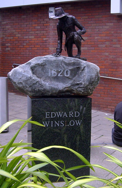 Statue of Edward Winslow, St Andrews Square, Droitwich, Worcestershire