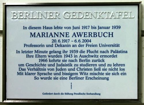 Gedenktafel für Marianne Awerbuch
