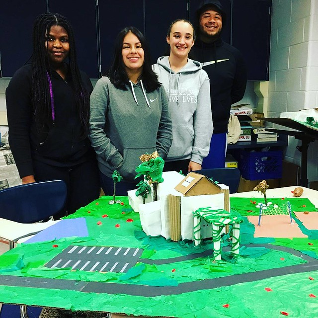 A team with their design for a new recreation center for their community. Built to scale and sited within a neighborhood park. Great project for a high school #geometry class!  #youngarchitects #highschoolers #stem #stemeducation #putnamvalley #recreation