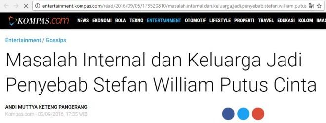 Judul berita: masalah internal dan keluarga jadi penyebab stefan william putus cinta