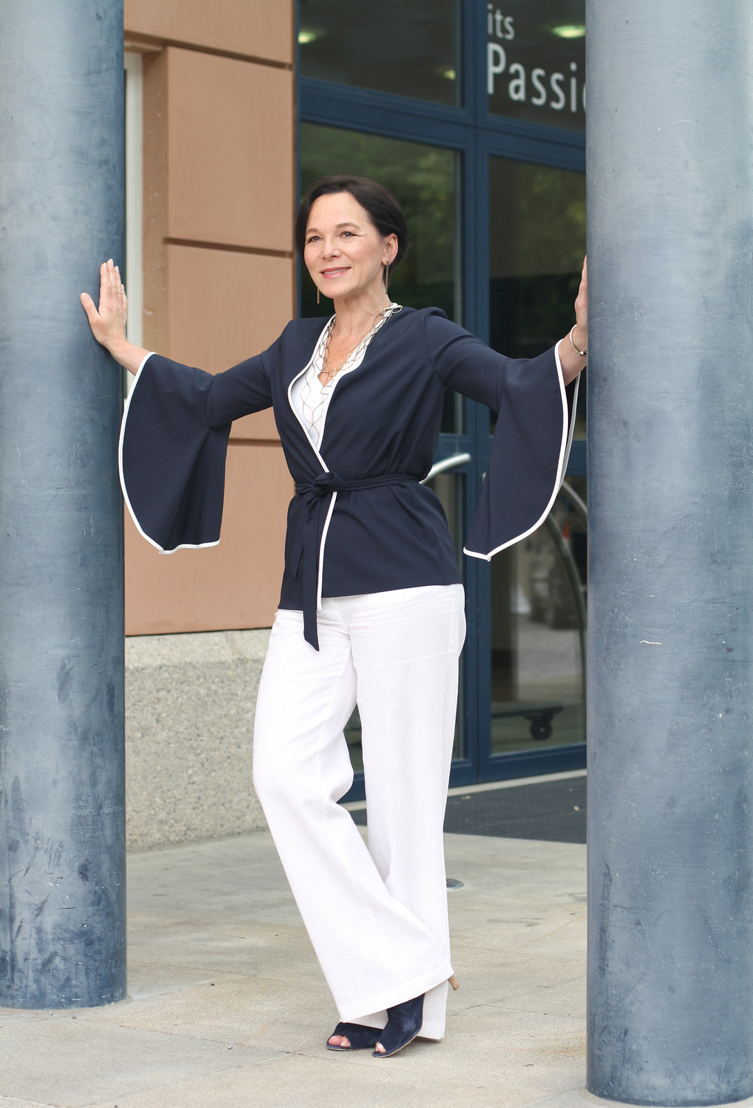 Bell Sleeves Wide Leg Linen Trousers Elegant Summer Look LadyofStyle