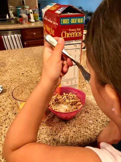 reading labels over breakfast