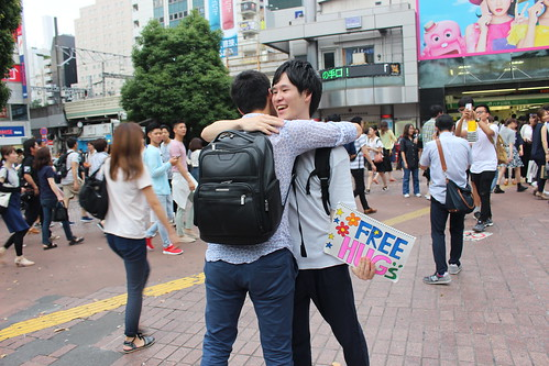 Free hugs in Shibuya, Tokyo