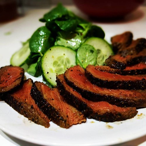 BBQ Season - Steak with cucumber salad